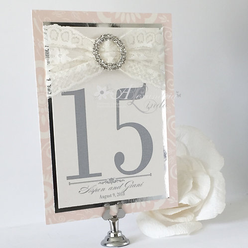 Metallic Blush, Cream and Silver Table Number