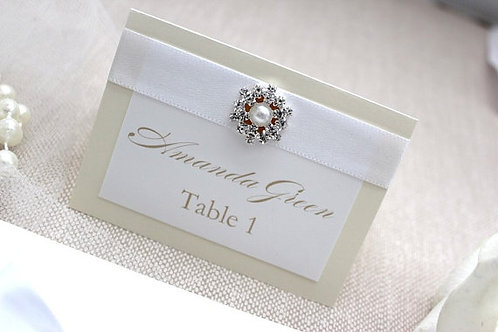 Cream and white place card
