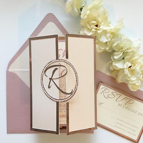Metallic Blush and Rose Gold Foil Monogram