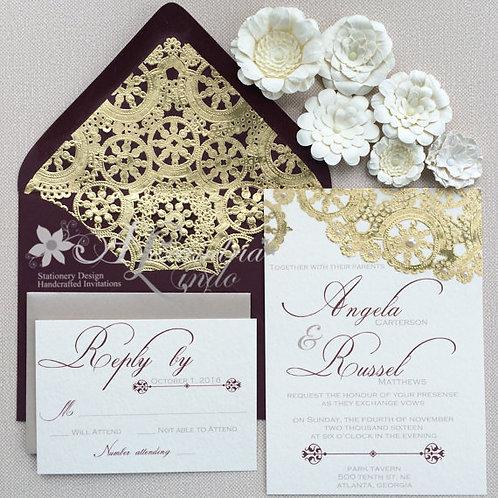 Marsla/ Burgundy and Gold Invitation