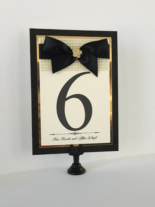 Cream and Gold with Pearls Table Numbers