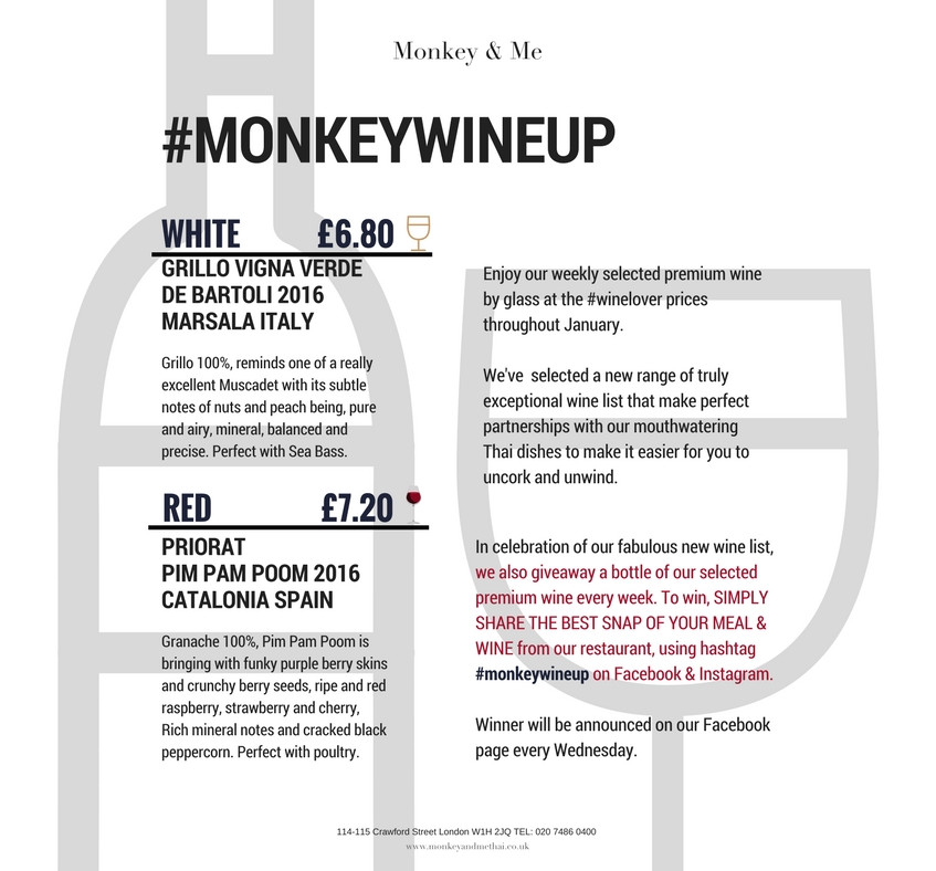 Weekly Premium Wine Menu - #monkeywineup