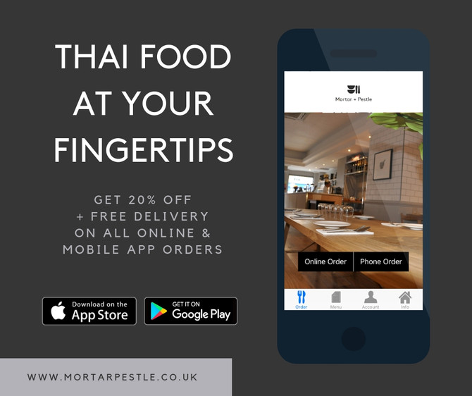 Get 20% off + FREE home delivery from our sister restaurant Mortar + Pestle Thai
