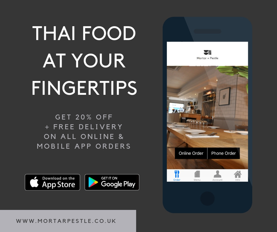 Home delivery service from our sister restaurant Mortar + Pestle Thai