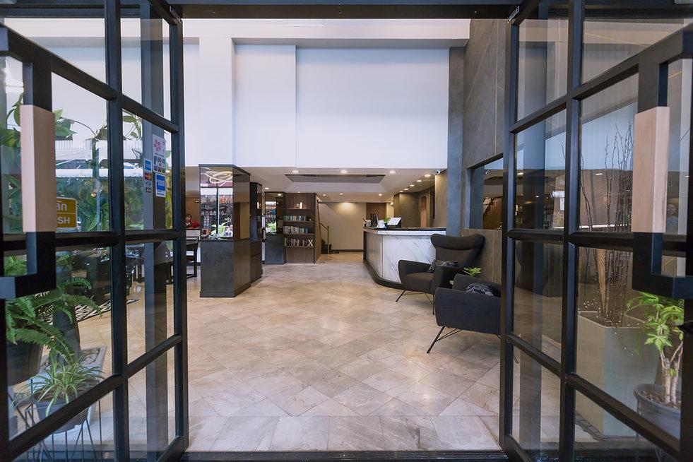 Welcoming lobby at Maxim's Inn, heart of Bangkok