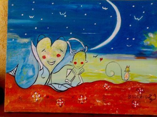 bébé lune-30x40cm-Coton-Acrylique-350 Euros.