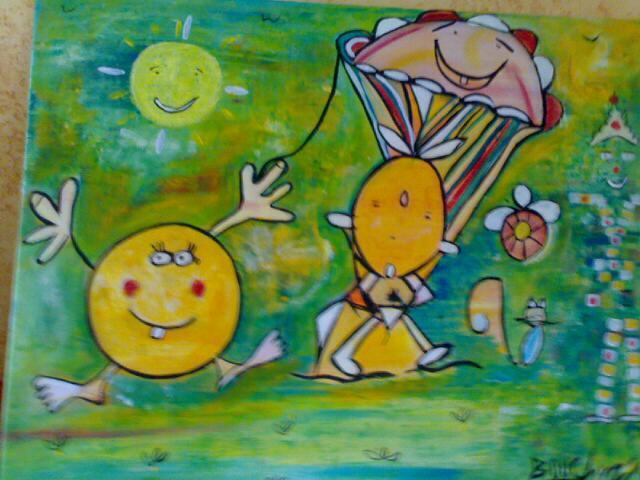 bébé_soleil-toile_de_lin-huile_et_acrylique_400_Euros