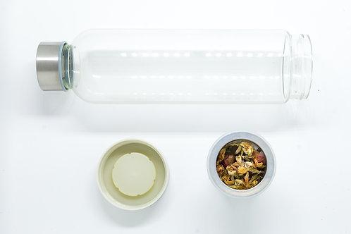 Garrafa vidro com infusor portátil
