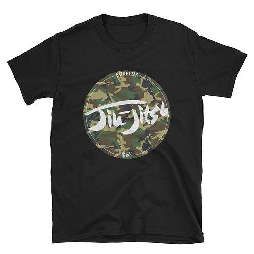Jiu Jitsu Woodland Camo Unisex Black T shirt