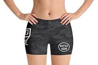 Subdued Black Camo T1 Female Tight Grapple MMA Shorts