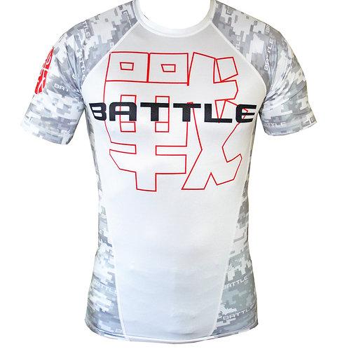 Digital Camouflage Short Sleeve NO GI / MMA Rashguard in WHITE
