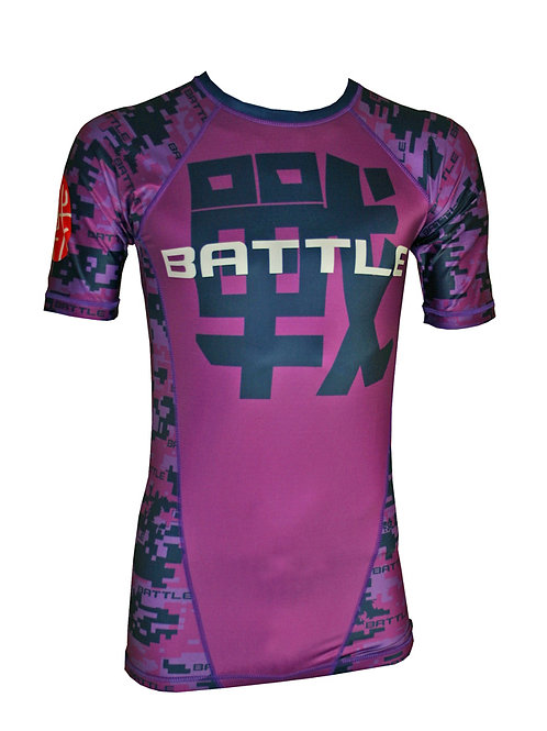 Digital Camouflage Short Sleeve NO GI / MMA Rashguard inPURPLE