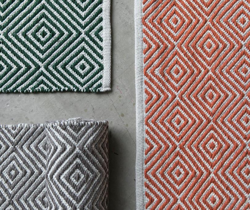 Diamond Rugs, Green, Grey and Burnt Orange