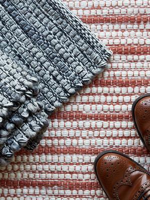 Stripe rug, burnt orange and grey