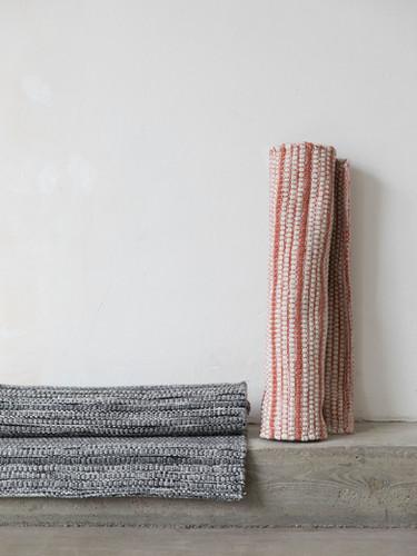 Stripe rug, burnt orange and grey 70x200