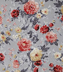 Luxe fleece fabric gray rust pretty flor