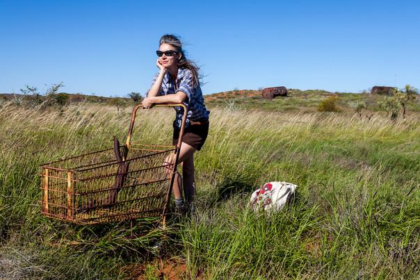 Pennie of the Pilbara, collecting anthropogenic debris, 2015