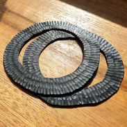 Flat disc carved bangle pair