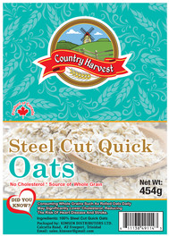 Country Harvest Steel Cut Quick Oates 45  - Flexo Label