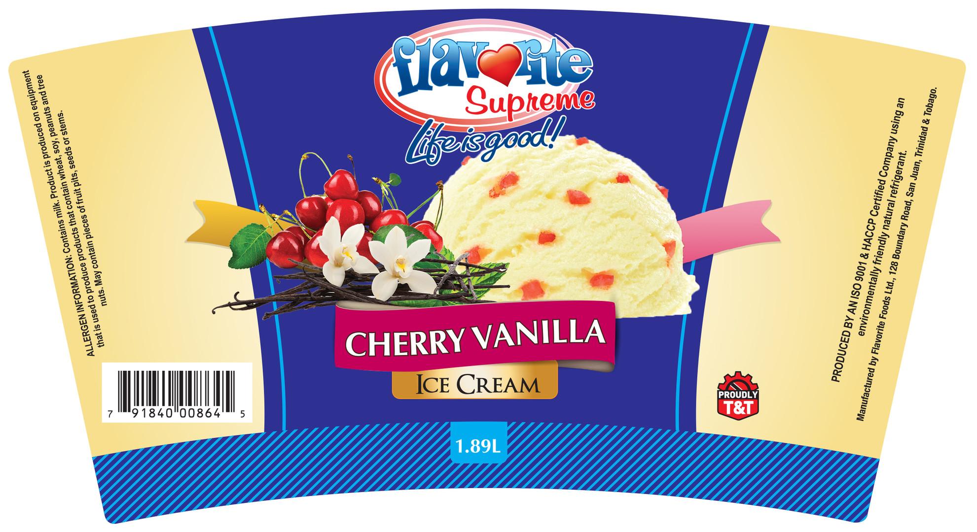 Flavorite Cherry Vanilla Ice Cream - Flexo Label