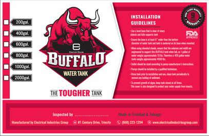 Buffalo Water Tank 200 Gal - Flexo Label