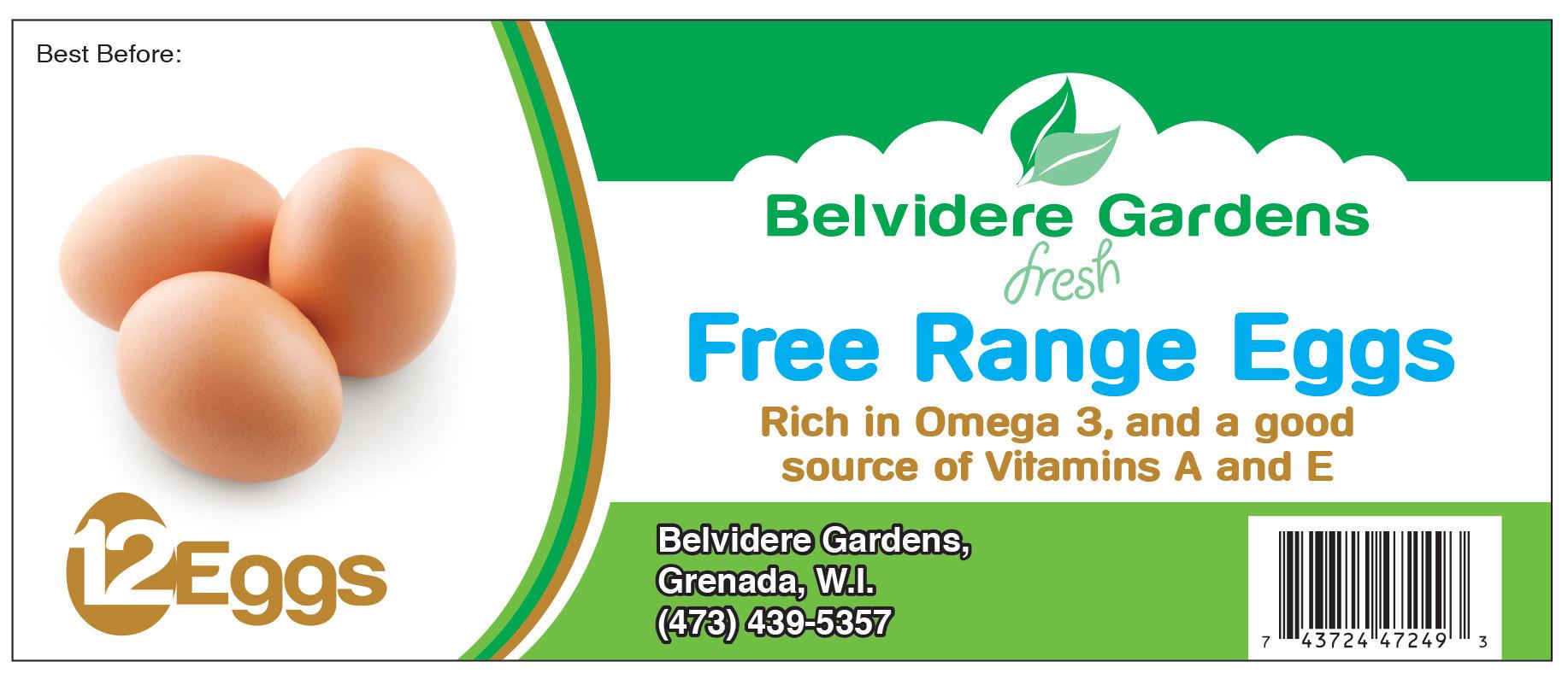 Belvidere Gardens Free Range Eggs - Flexo Label