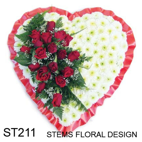 ST211 Padded Heart - red and white