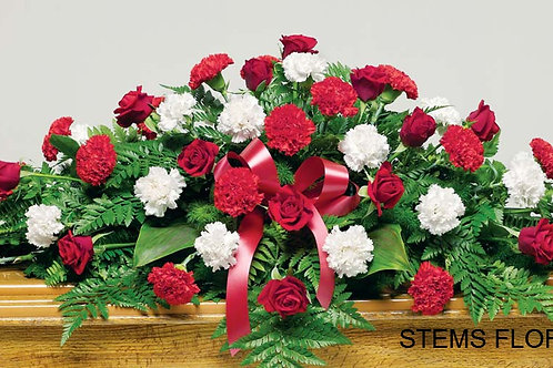 ST51 Casket Spray Red and White