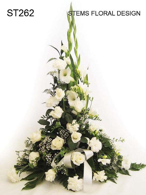 ST262 Tall bowl arrangement - elegant white