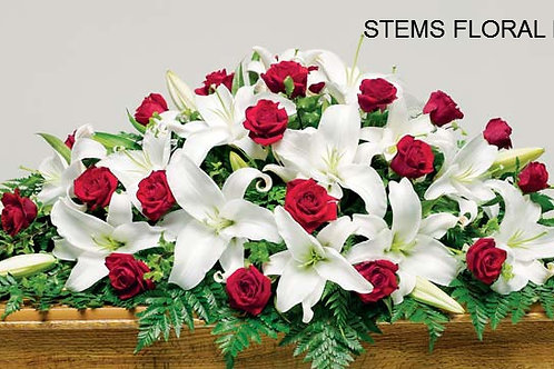 ST52 Casket Spray - Red Roses and white lillies