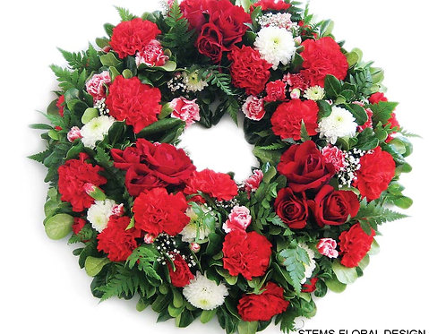 ST195 Wreath - mixed red and white