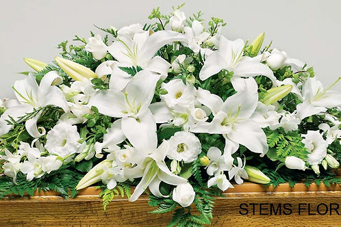 ST71 Casket Spray - Glorious mixed white flowers