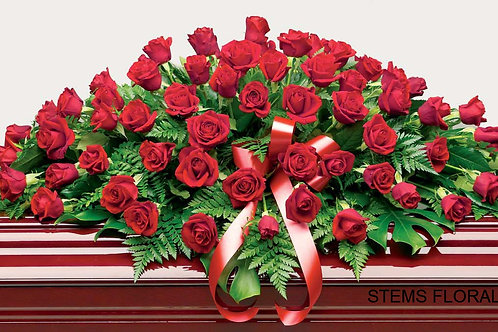 ST31 Traditional Casket spray - Red Roses