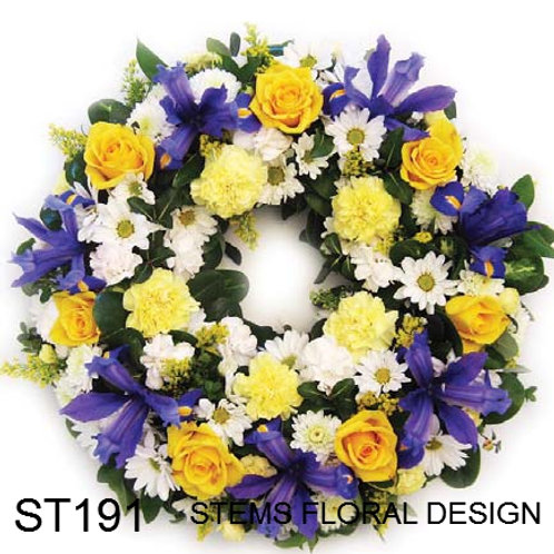 ST191 Wreath - mixed blue, yellow and white