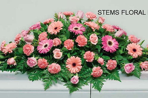 ST41 Casket Spray - Mixed shades of pink flowers