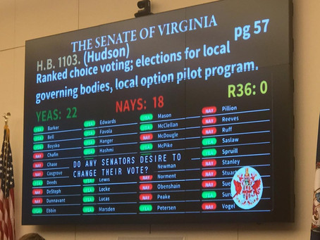 BREAKING NEWS: Ranked Choice Voting Bills Headed to Governor Northam's Desk!