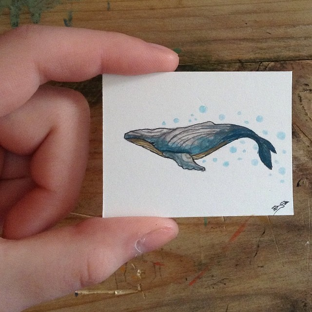 Instagram - Tiny whale #paint#painting#gouache#watercolor#art#depressed#artist#l