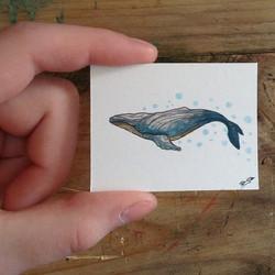 Instagram - Tiny whale #paint#painting#gouache#watercolor#art#depressed#artist#l
