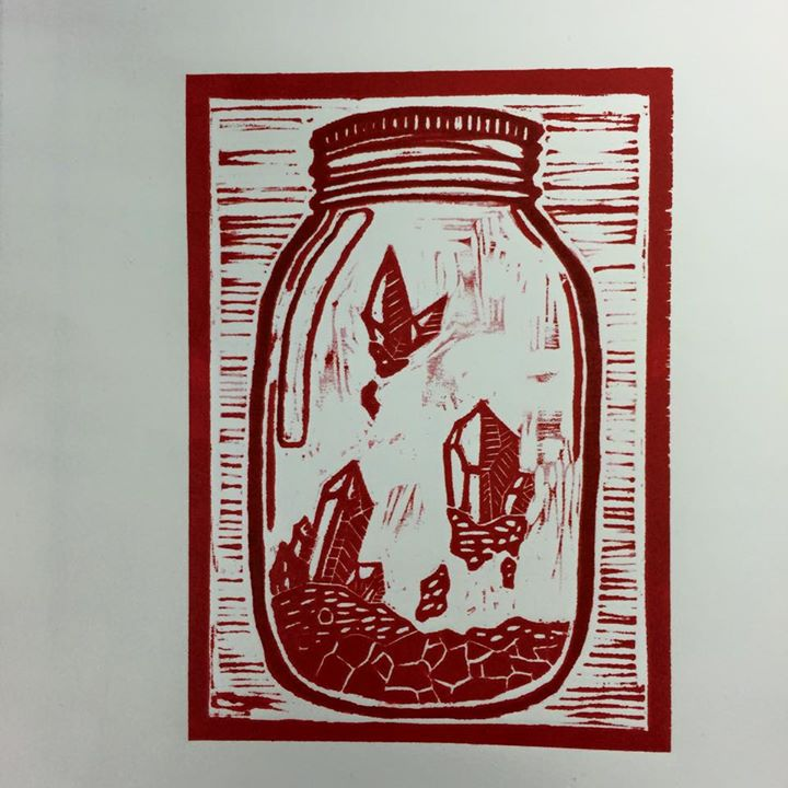 red crystal jar print