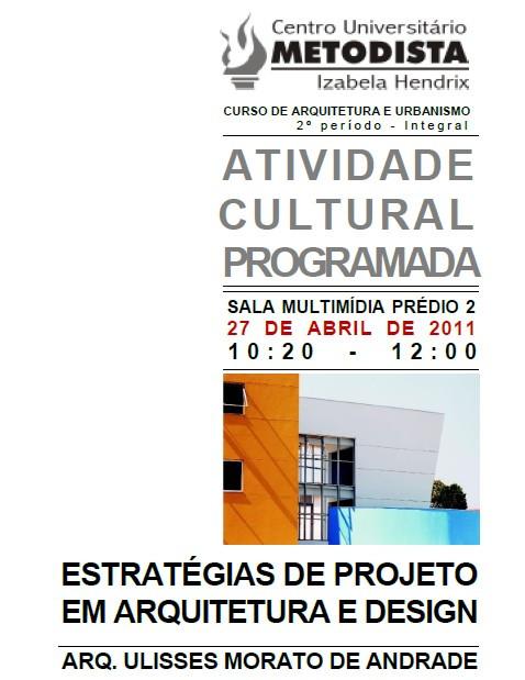 Cartaz: Palestra Ulisses Morato no Centro Universitário