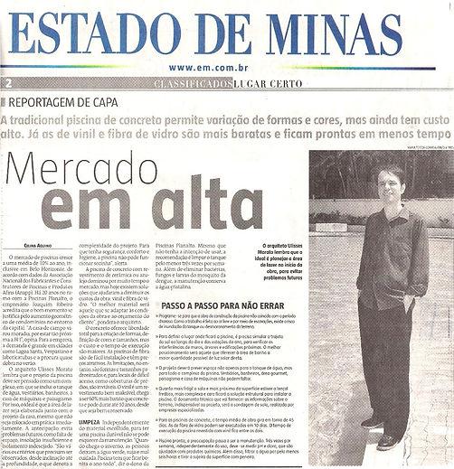 Ulisses Morato - Matéria sobre piscinas Jornal Estado de MInas