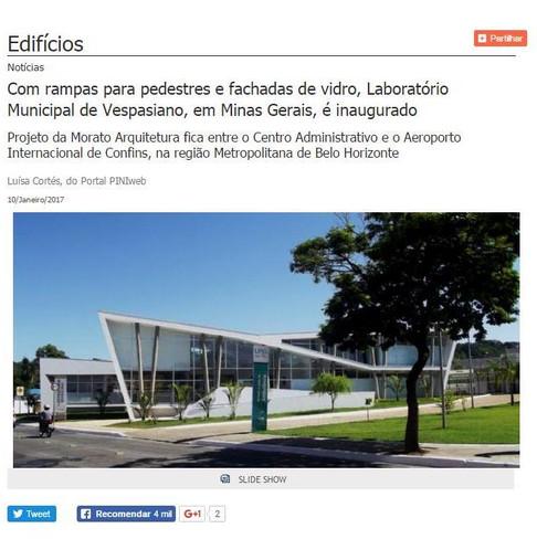 Laboratório Municipal de Vespasiano no site da revista aU - Arquitetura & Urbanismo
