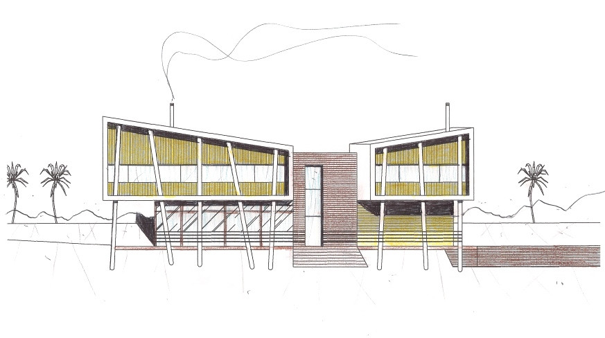Intervenções manuais (linhas, cores e sombras) sobre impressão digital para criação de uma residência - Ulisses Morato