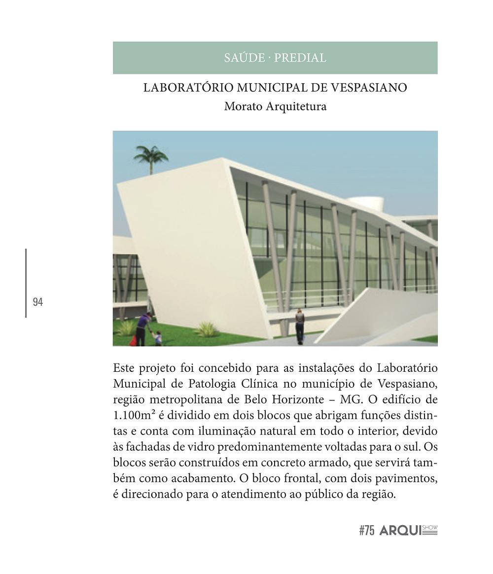 LABORATÓRIO MUNICIPAL DE VESPASIANO - Projeto da Morato, Escritório de Arquitetura em Belo Horizonte