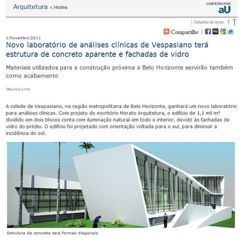 Portal da revista aU - Arquitetura e Urbanismo, destaca projeto da Morato Arquitetura