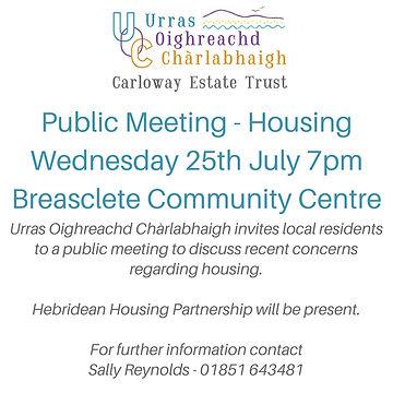 Advert - Public Meeting - Housing