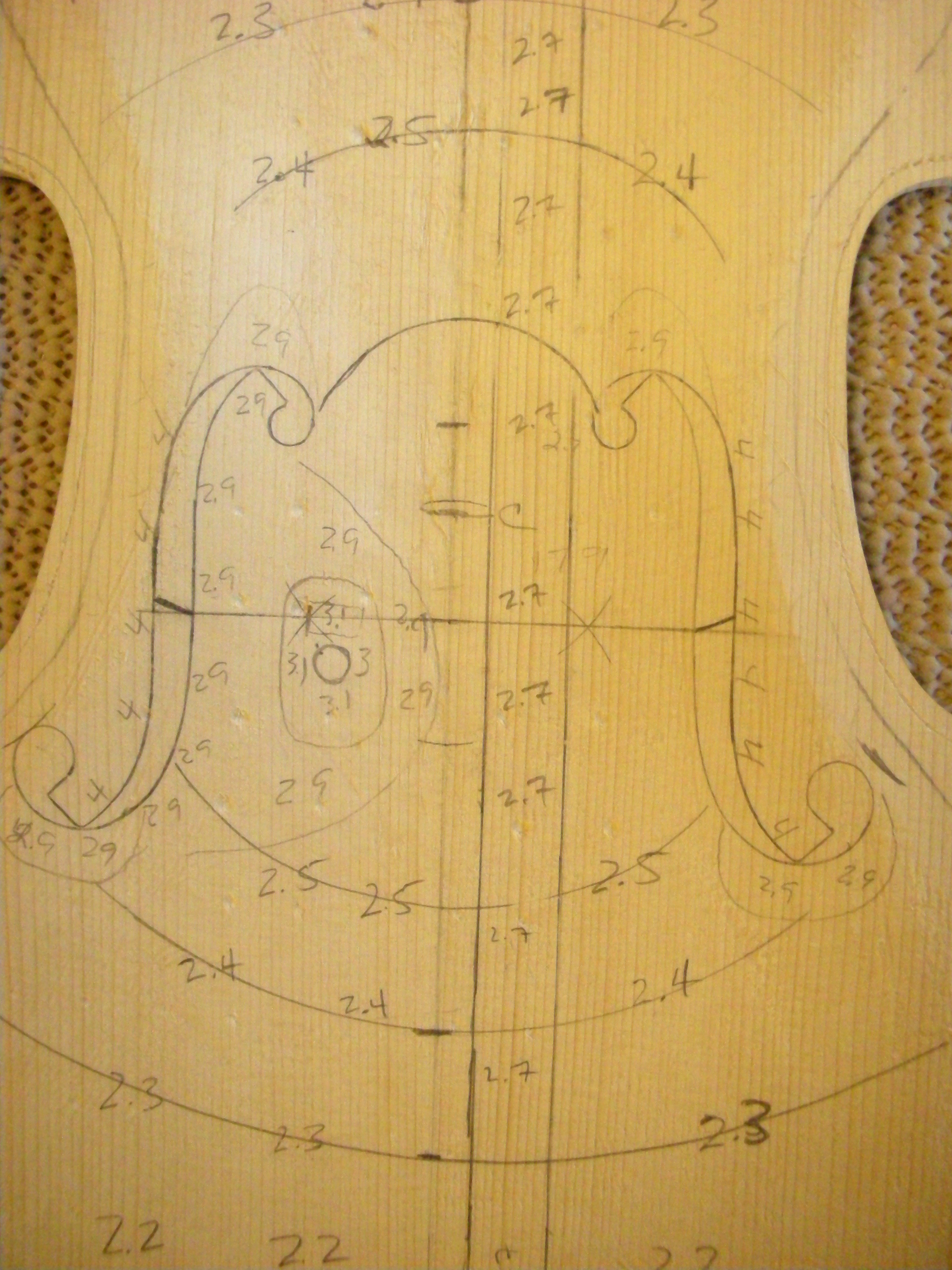violin top Final Arching Thicknesses