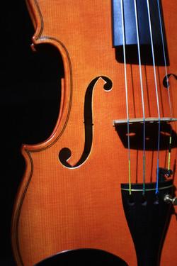 new violin f-hole & bridge