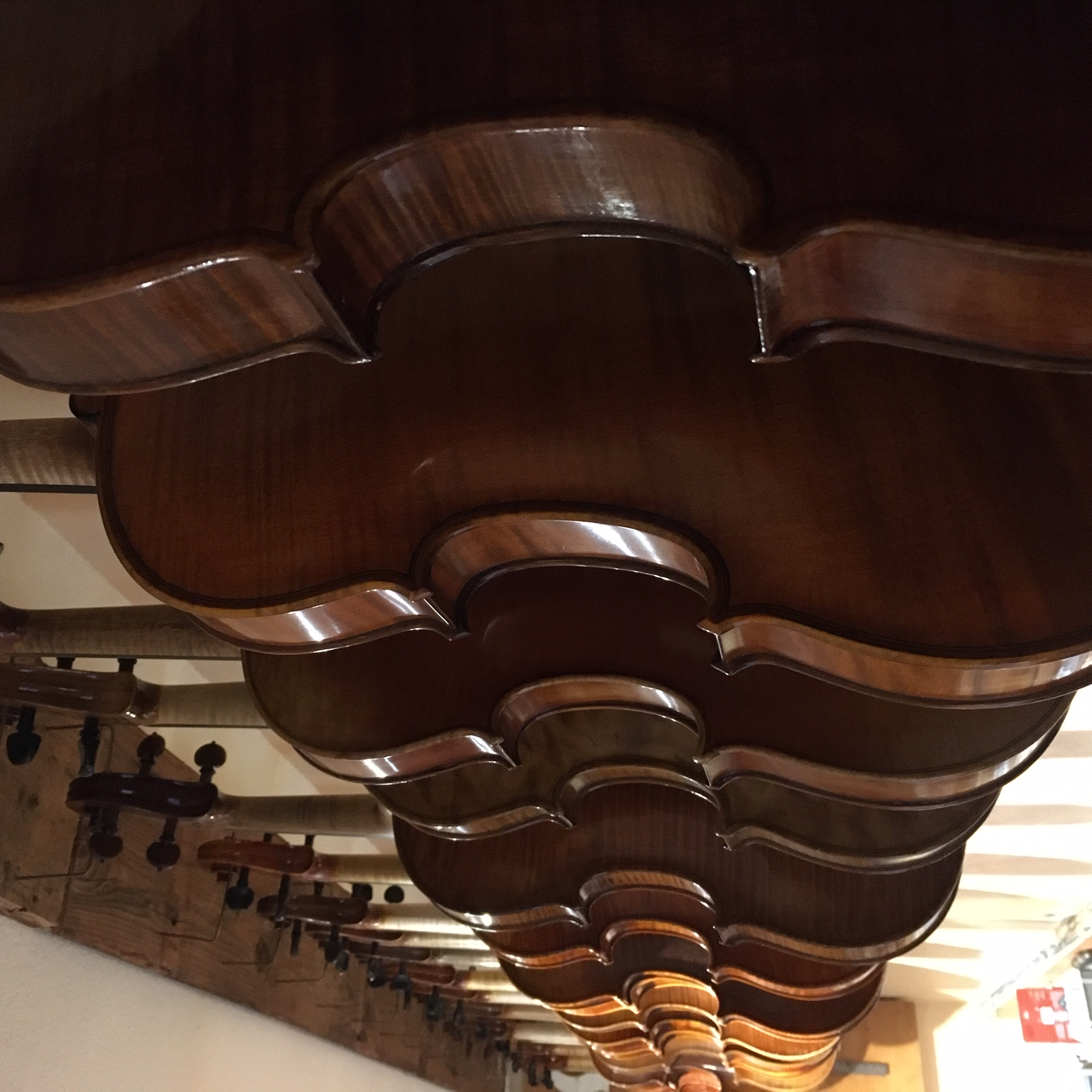 Restored violins hanging.