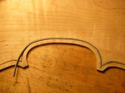 violin back C bout purfling bending